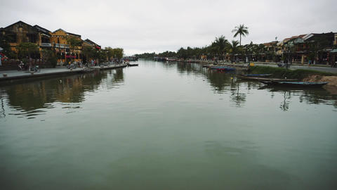Hoi An, Vietnam. Street night view at Hoi An ancient town historic district Live Action