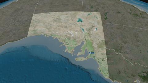 South Australia - state of Australia. Satellite Animation