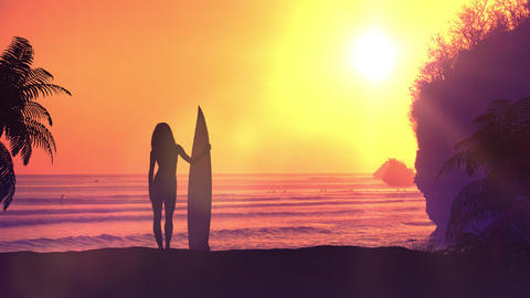 Surfer with a board on a sunset background Videos animados
