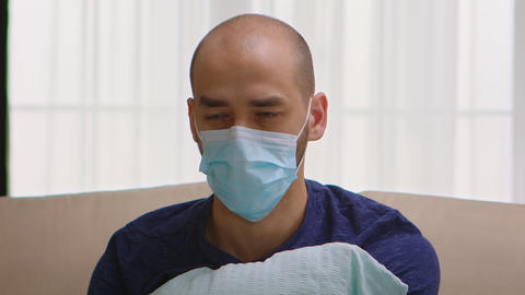 Man with protection mask having a panic attack Live Action