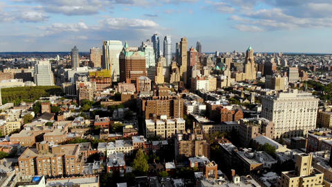 Aerial view of downtown Brooklyn with Traditional building in Brooklyn Heights Live Action