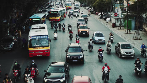 Congested Road In Hanoi, Busy Rush Hour, Infrastructure, Transportation, Vietnam Live Action
