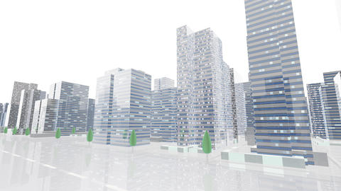 City Building Simple Modern Skyscraper business street background C2 white2 4k Animation