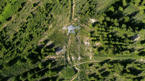 Power lines in the forest. Electric tower line in forest Landscape. Ariel view Live Action