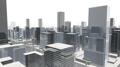 City Building Simple Modern Skyscraper business street background G4 white 4k Animation