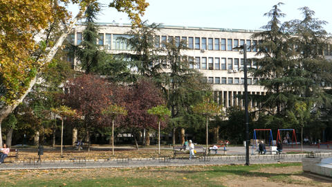 Studentski Park (Academic Park) in Studentski Trg (Students Square) Belgrade Live Action