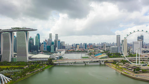 Aerial view Hyper lapse of Park and Building in Singapore city Live Action
