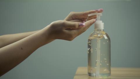 4k Video of Coronavirus hand sanitizer gel for clean hands hygiene corona virus spread prevention Live Action