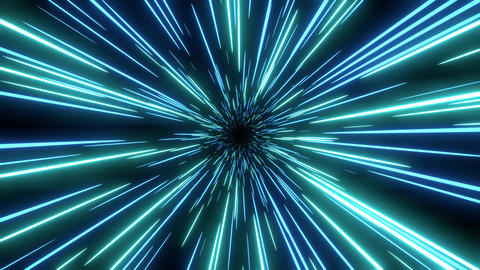 Blue speed light abstract background. Loop able Sci-fi tunnel backdrop Animation