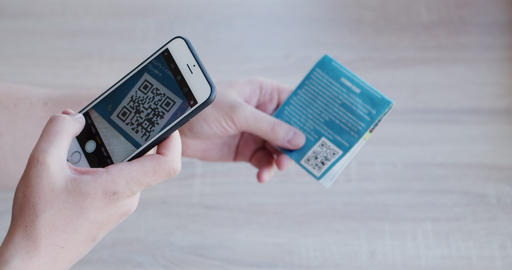 QR code scanning by smart phone Live Action
