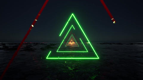 Neon lights invitation triangles Template 90s Party flyer on light backdrop Live Action