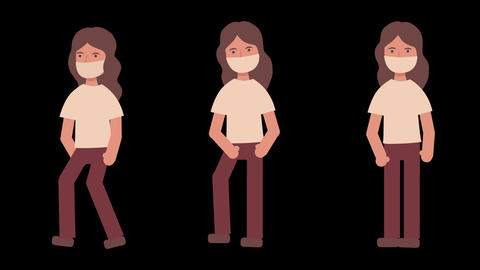 animation loop footage set of movement moving of a girl female character in a medical mask: a girl Animation