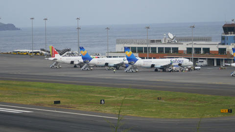 Airliners (Civil Passenger Airplanes) Parked at Madeira Airport Fuchal 4K Live Action