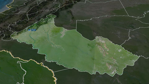 Caquetá - intendancy of Colombia. Satellite Animation