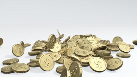 Many golden dollar coin falling on white background. Rain from the golden coins Live Action