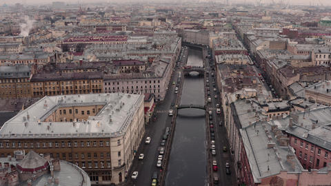 St. Petersburg different types of cities shooting from a drone Live Action