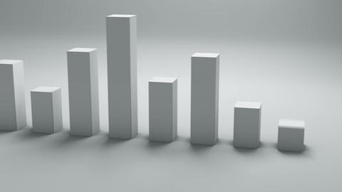 Bar chart graph 3D render animation seamless loop Animation
