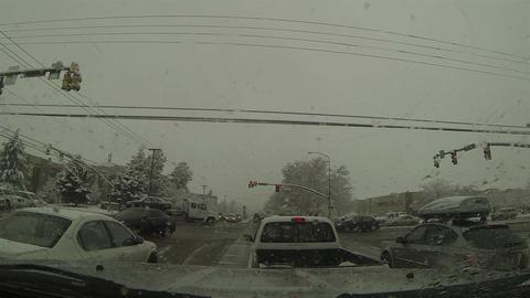 Winter driving snow storm urban city POV HD 0212 Footage