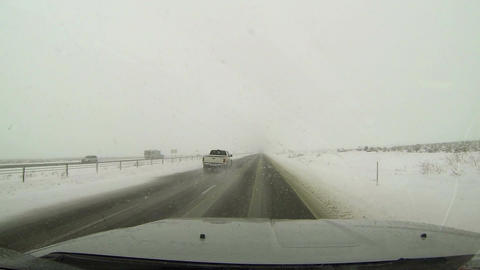 Winter highway driving snow storm through truck window HD 008 Footage