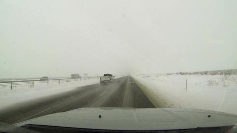 Winter highway driving snow storm through truck window HD 008 Footage