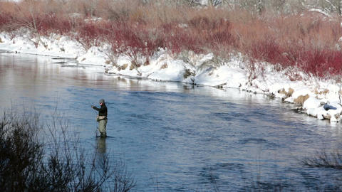 Winter fly fishing mountain river snow and cold HD 0222 Footage