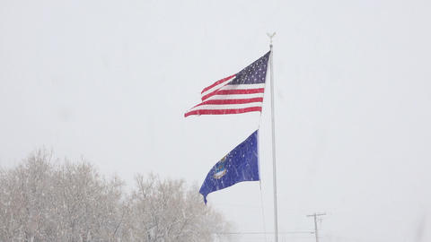 Winter snow blizzard US Flag US Air Force Flag 4K 013 Footage