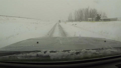 Winter snow storm freeway entrance truck stuck POV HD 0205 Footage