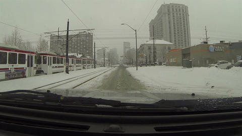 Winter snow storm public transit urban road POV HD 0215 Footage
