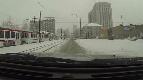 Winter snow storm public transit urban road POV HD 0215 Footage