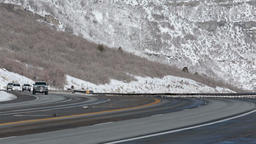 Winter traffic mountain highway fast timelapse HD 0213 Footage