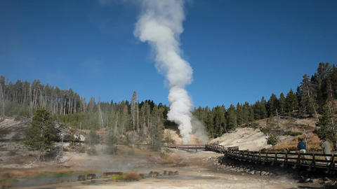 Yellowstone Dragon Mouth geyser nature Wyoming P HD 2549 Footage