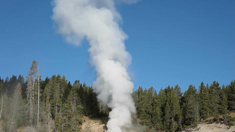 Yellowstone Dragons Mouth geyser tilt up P HD 2555 Footage
