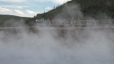 Yellowstone Excelsior Geyser Midway basin tourism 4K Footage
