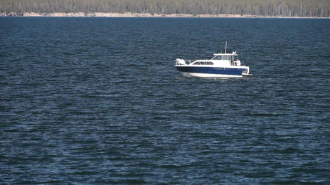 Yellowstone Lake fishing boat P HD 2661 Footage