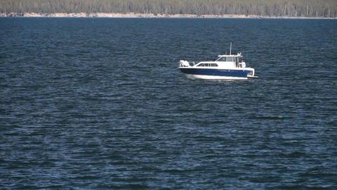 Yellowstone Lake fishing boat P HD 2661 Footage