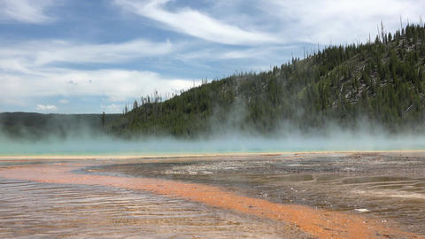 Yellowstone Grand Prismatic Spring steam geyser 4K Footage