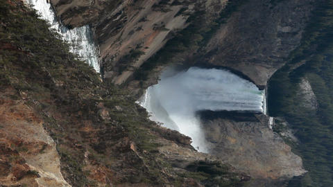 Yellowstone Lower Falls river vertical P HD 2372 Footage