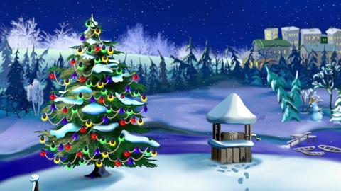 Christmas Tree in Magic Snowy Winter Night Animation