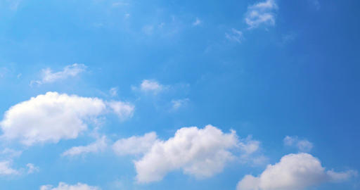 White Cumulus Clouds On Blue Sky Footage