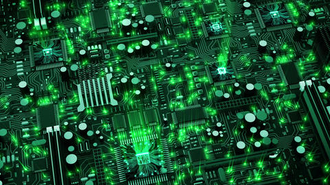 Beautiful 3d animation of the Endless Motherboard with Moving Green Flares and W Animación