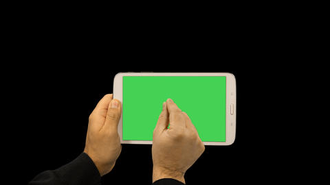 Set of 18 various touch gestures on a tablet with green screen, alpha channel Footage