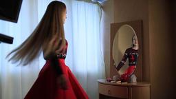 Sensual elegant woman near the mirror Footage
