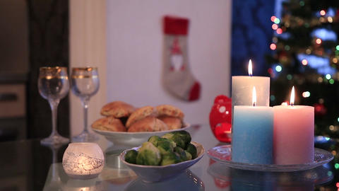 Table setting with Christmas decorations Footage