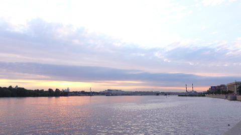 Soft sunset sky over Neva river, smooth clouds stretched across skies, light Footage