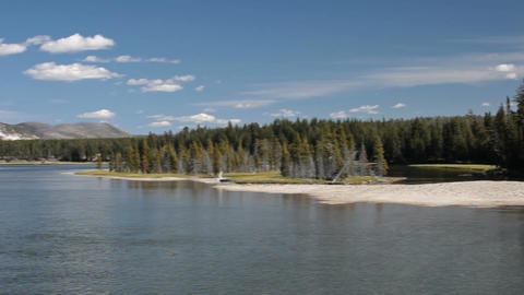 Yellowstone River from Fishing Bridge P HD 2323 Footage