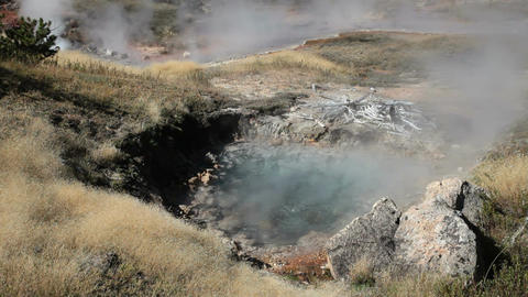 Yellowstone hot pots boiling P HD 2624 Footage