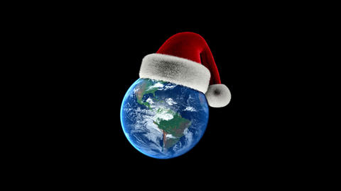Christmas Earth with Santas hat on black background. Isolated with Alpha Animation