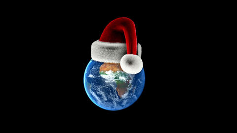 Christmas Earth with Santas hat on black background.... Stock Video Footage