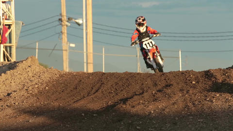Youth motocross motorcycle race corner hill HD 8321 Footage