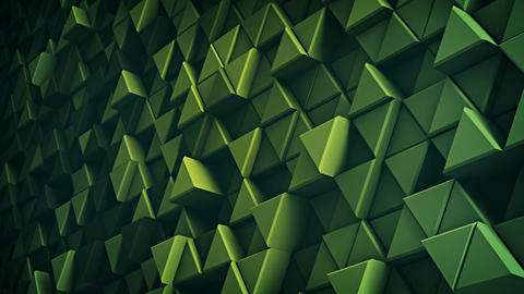 Surface of green extruded triangles 3D render loopable Animation